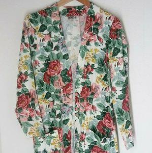 Vintage flower jacket with big pockets and belt